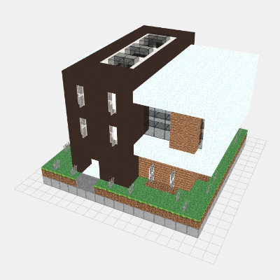 16x16 Modern House 3d View Layer By Layer Mineprints